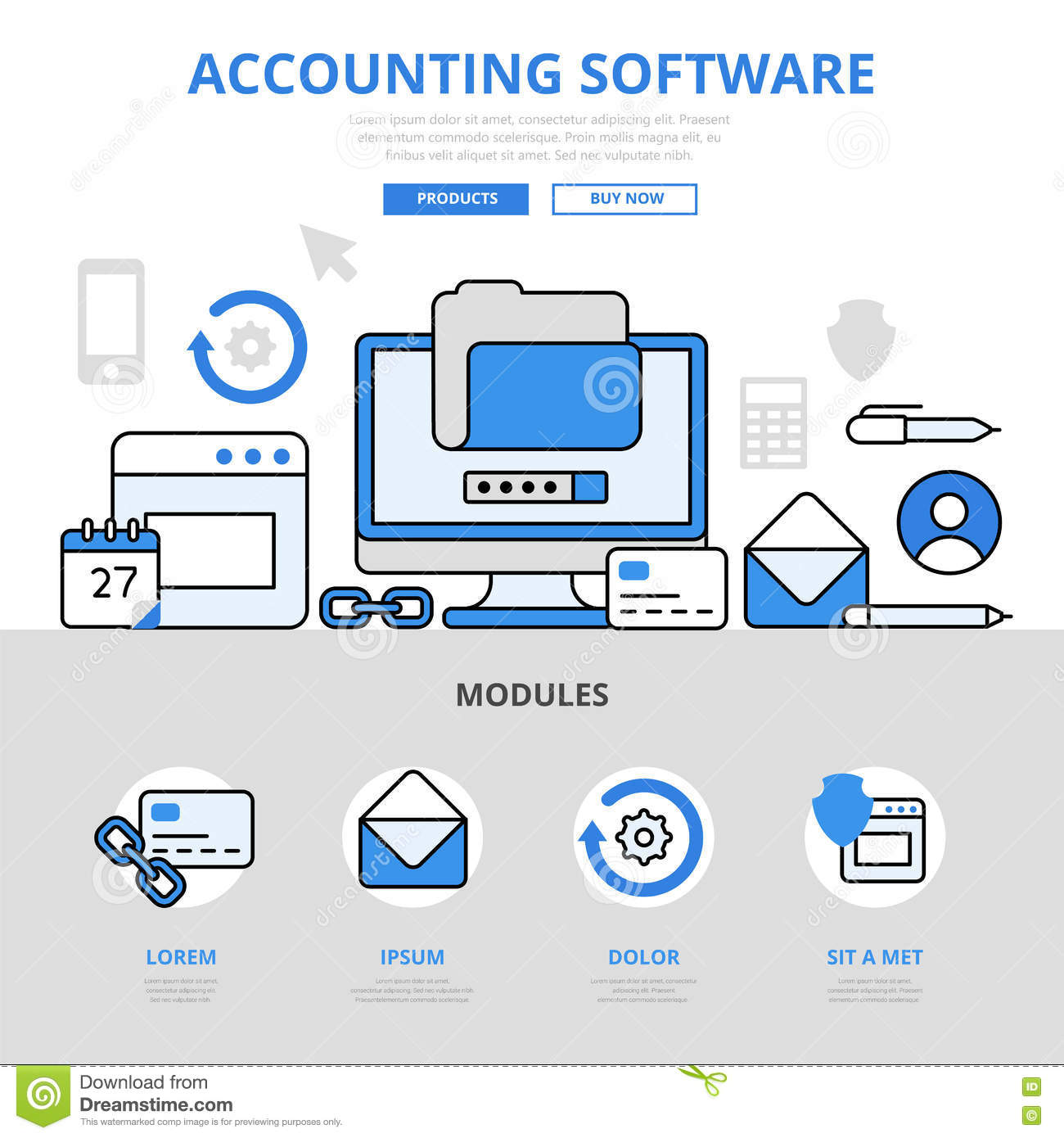 Line Art Software : Accounting software app application concept flat line art
