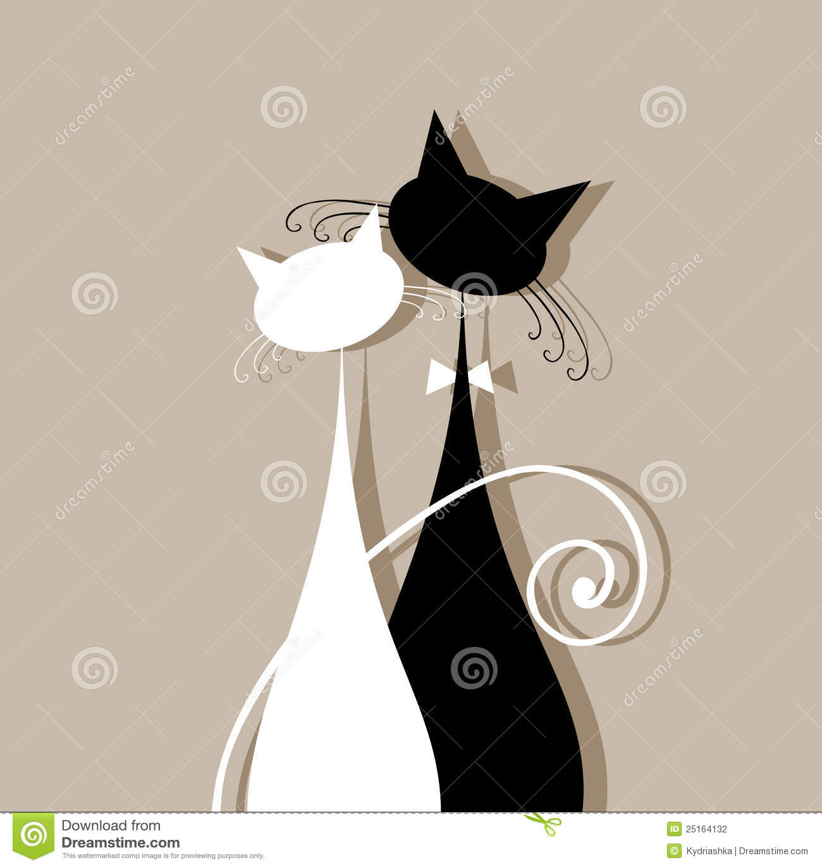 Accouplez les chats ensemble, silhouette pour votre conception