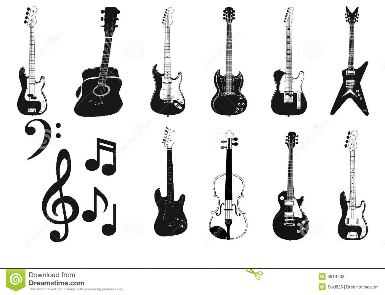 Nice set of accoustic and electric Guitars silhouette and music note.
