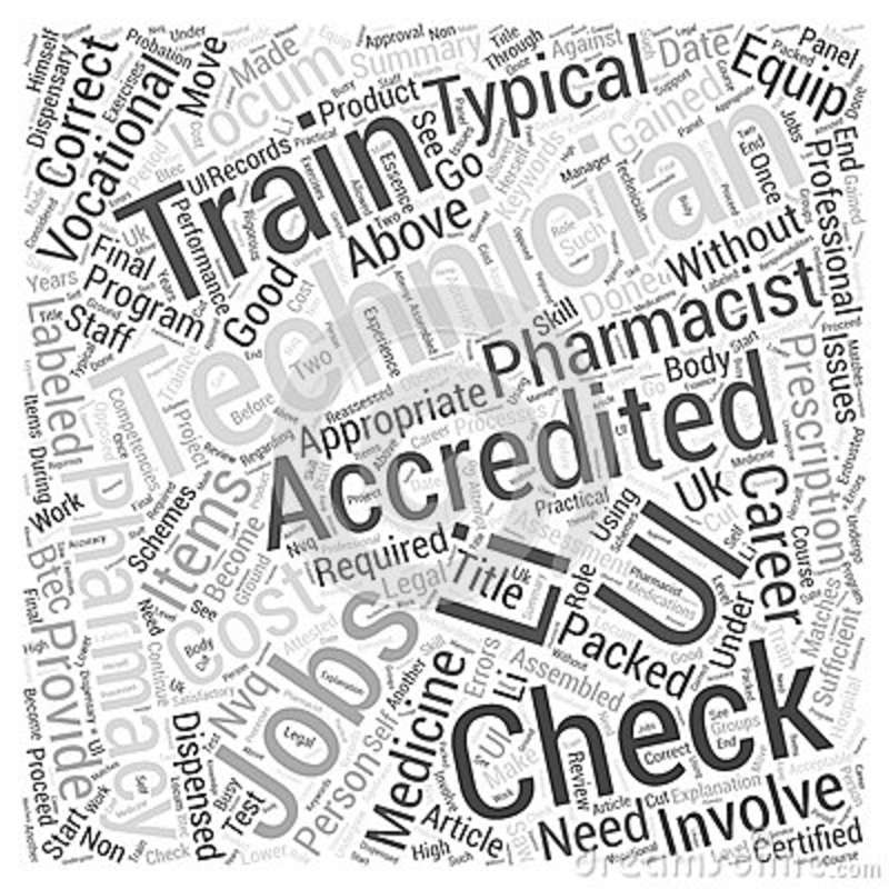 accredited checking technician jobs provide a good vocational career word cloud concept background