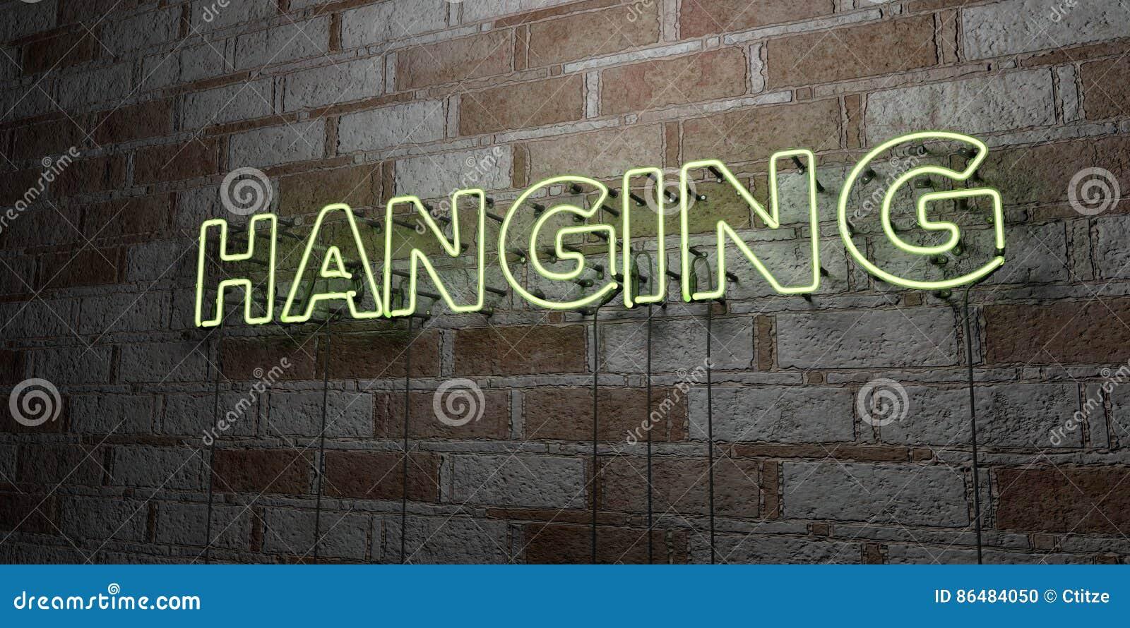 Neon A Accrocher Au Mur accrocher - enseigne au néon rougeoyant sur le mur de