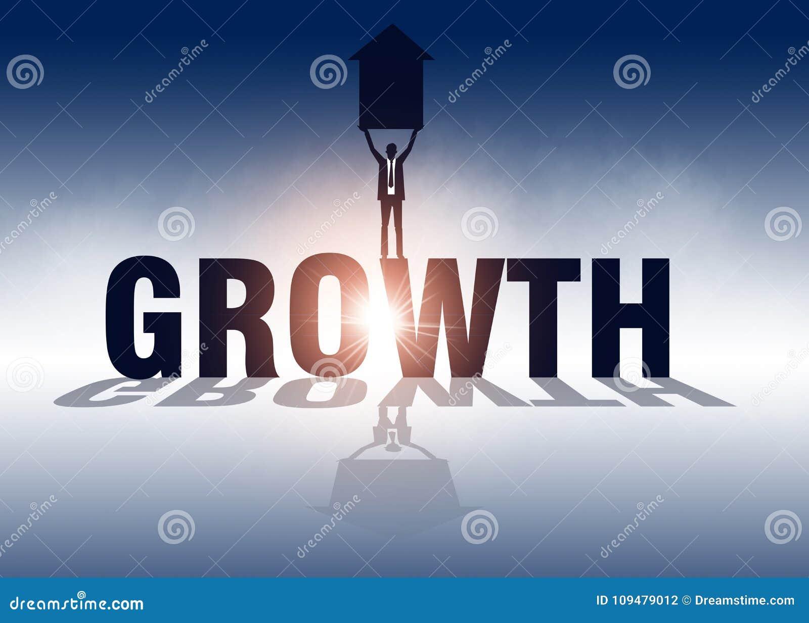 Accroissement Homme d affaires tenant la flèche et la position sur la croissance Vecteur