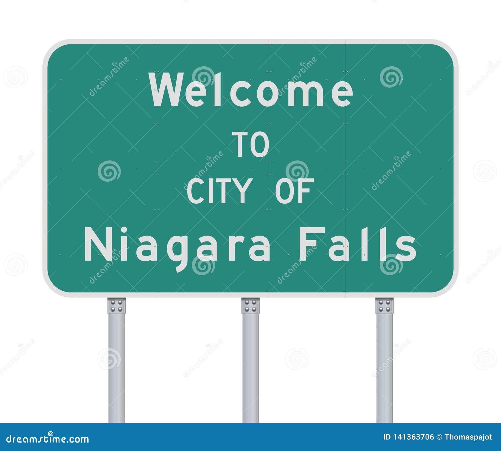 Accueil à la ville du panneau routier de chutes du Niagara
