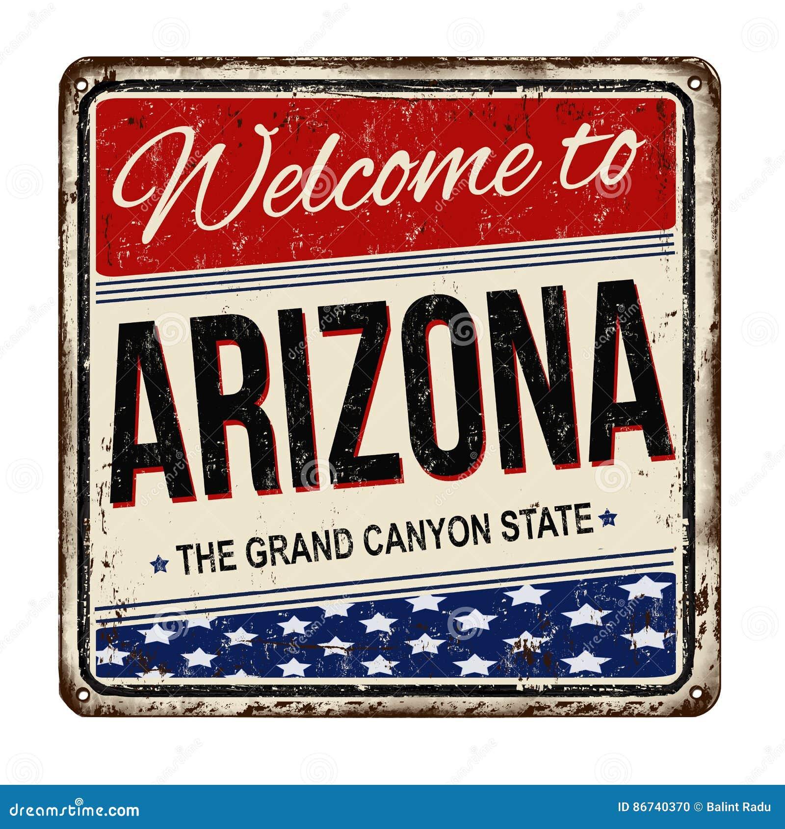 Accueil au signe rouillé en métal de vintage de l Arizona