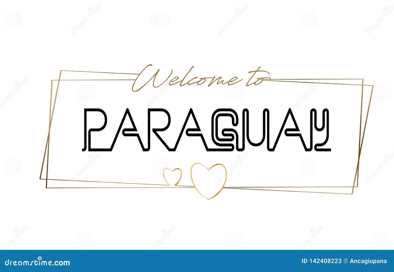 Accueil du Paraguay pour textoter la typographie de inscription au néon Word pour le logotype, insigne, icône, carte postale, log