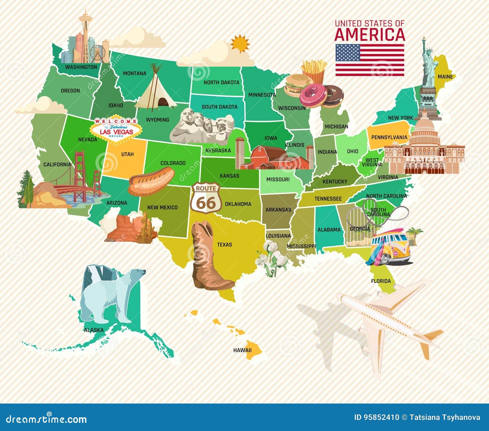 Accueil vers les Etats-Unis Affiche des Etats-Unis d Amérique Illustration de vecteur au sujet de voyage