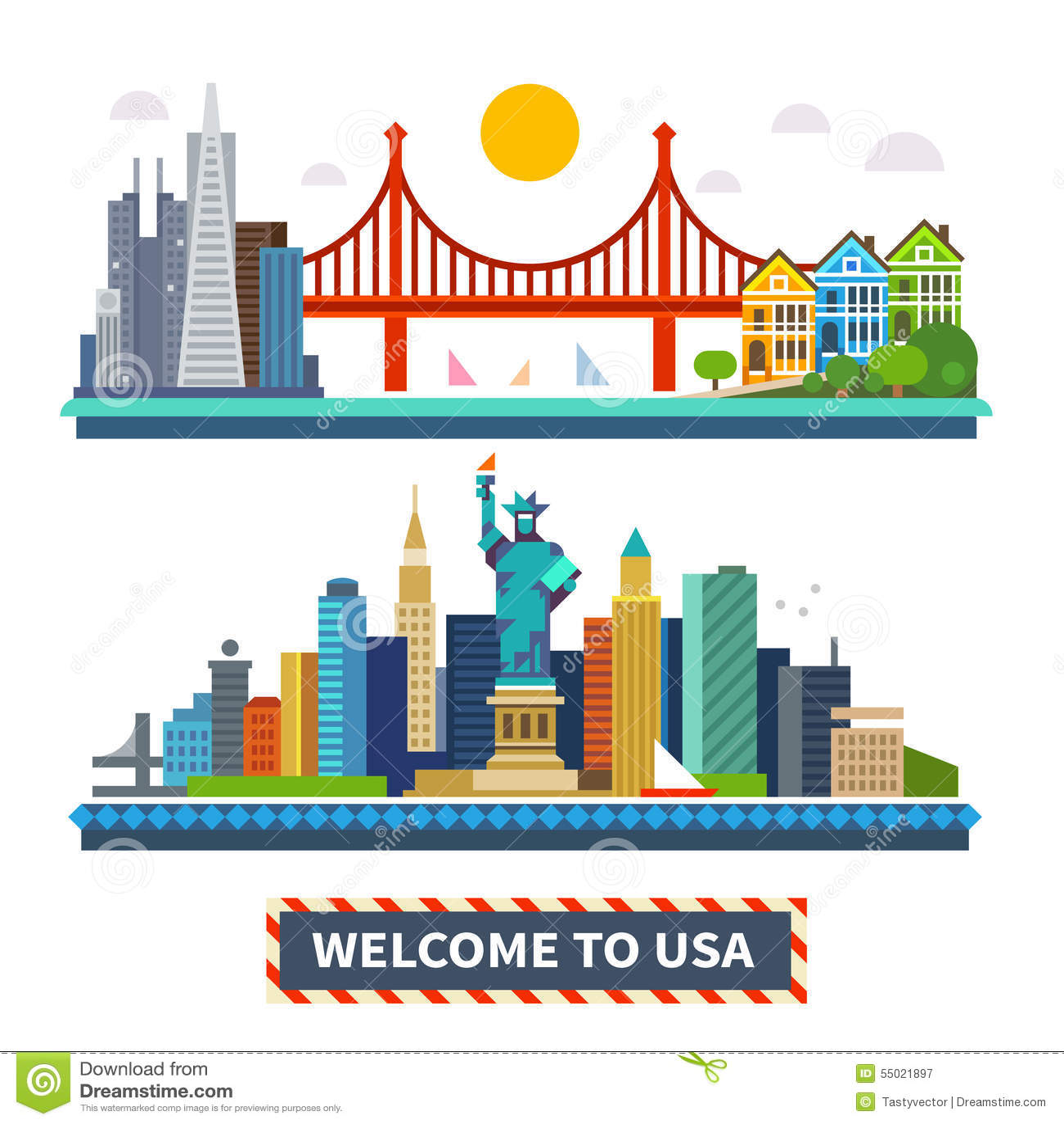 Accueil vers les Etats-Unis Paysages de New York et de San Francisco