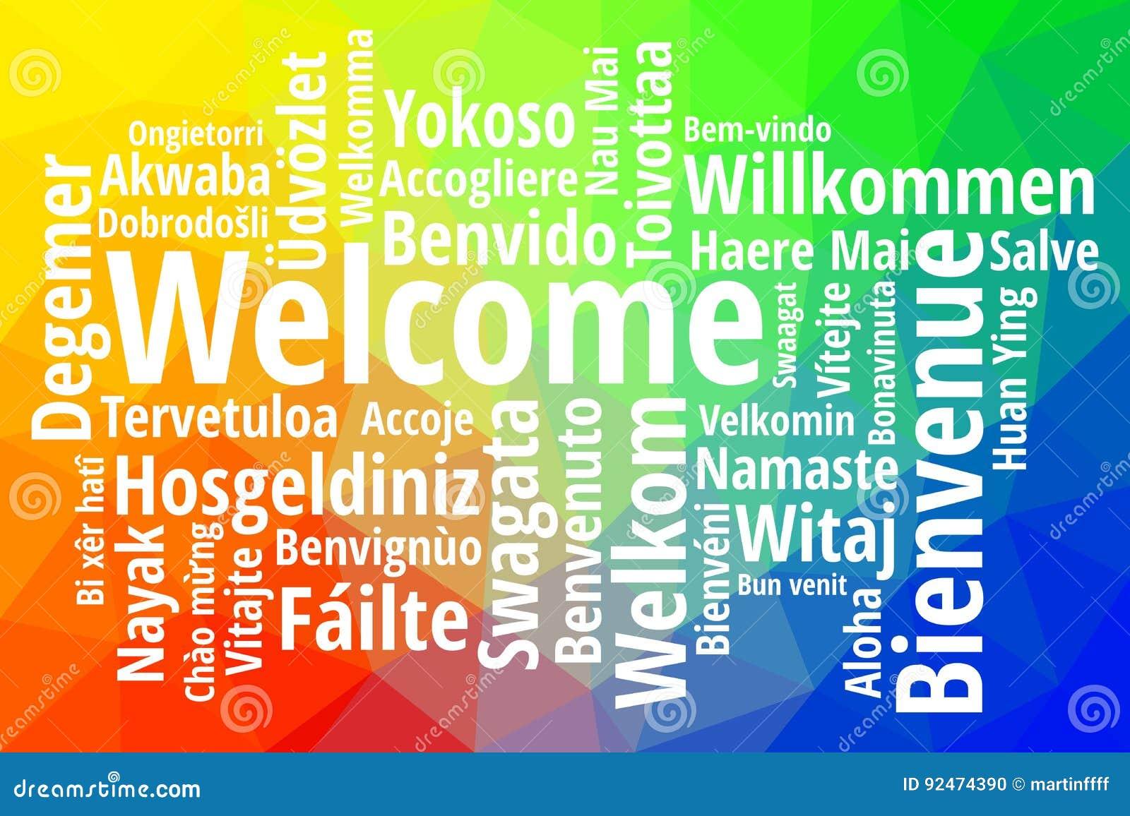 Accueillez dans le vecteur différent de wordcloud de langues