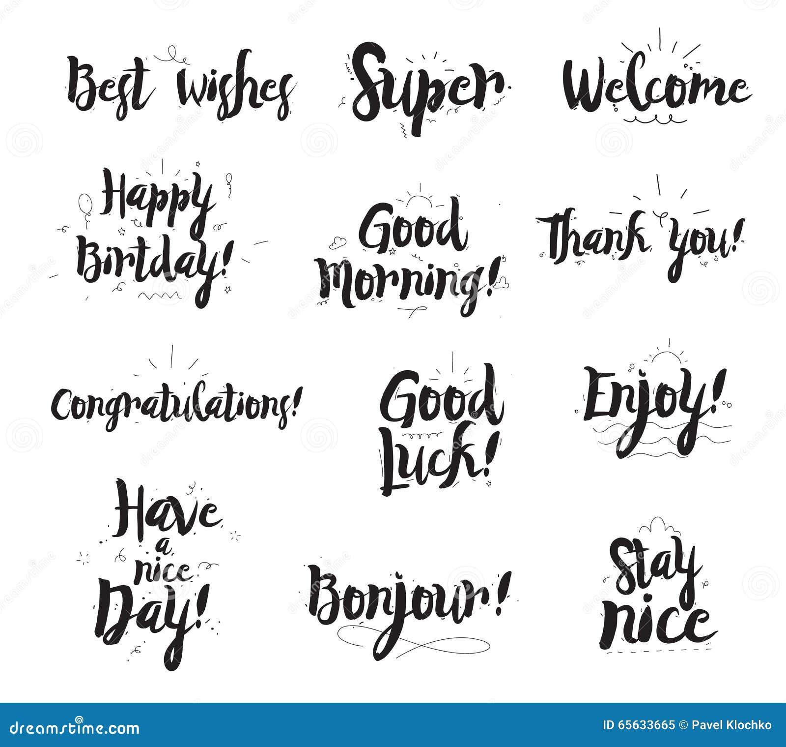 Accueillez, merci, appréciez, superbe et bonjour, des conratulations, etc. Ensemble de calligraphie moderne et d éléments tirés p