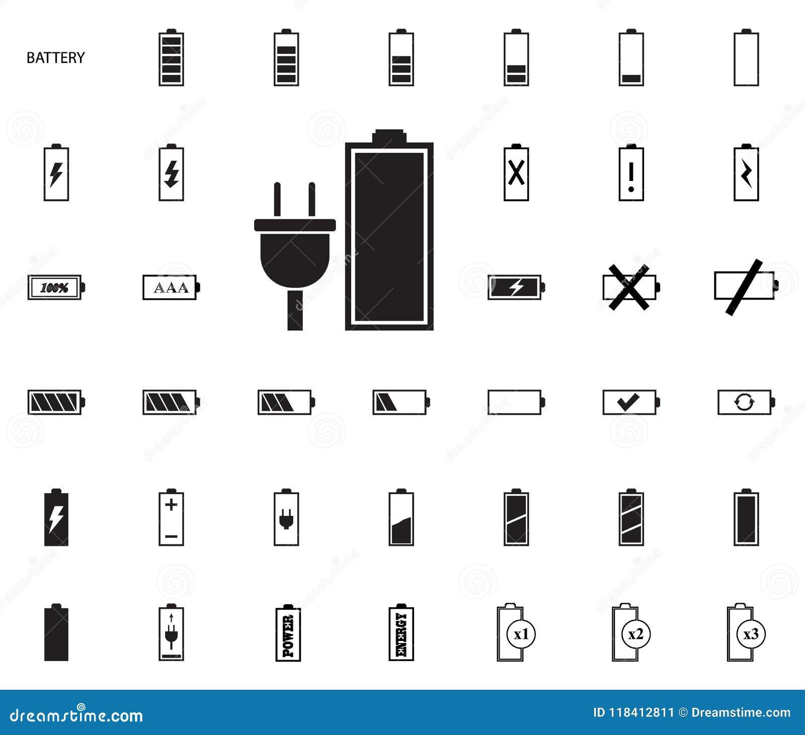 Battery Vector Illustration Icons Set Stock Illustration