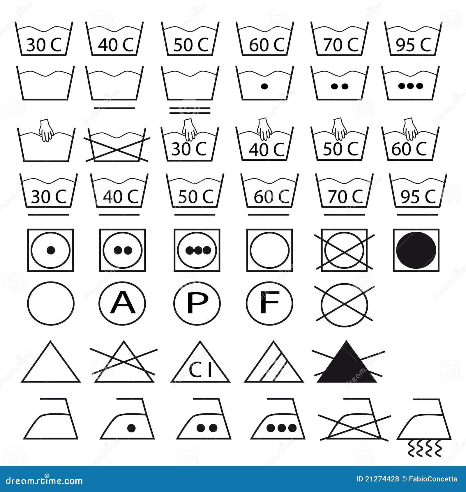 Accumulazione dei simboli per i vestiti di lavaggio - Instructions de lavage symboles ...