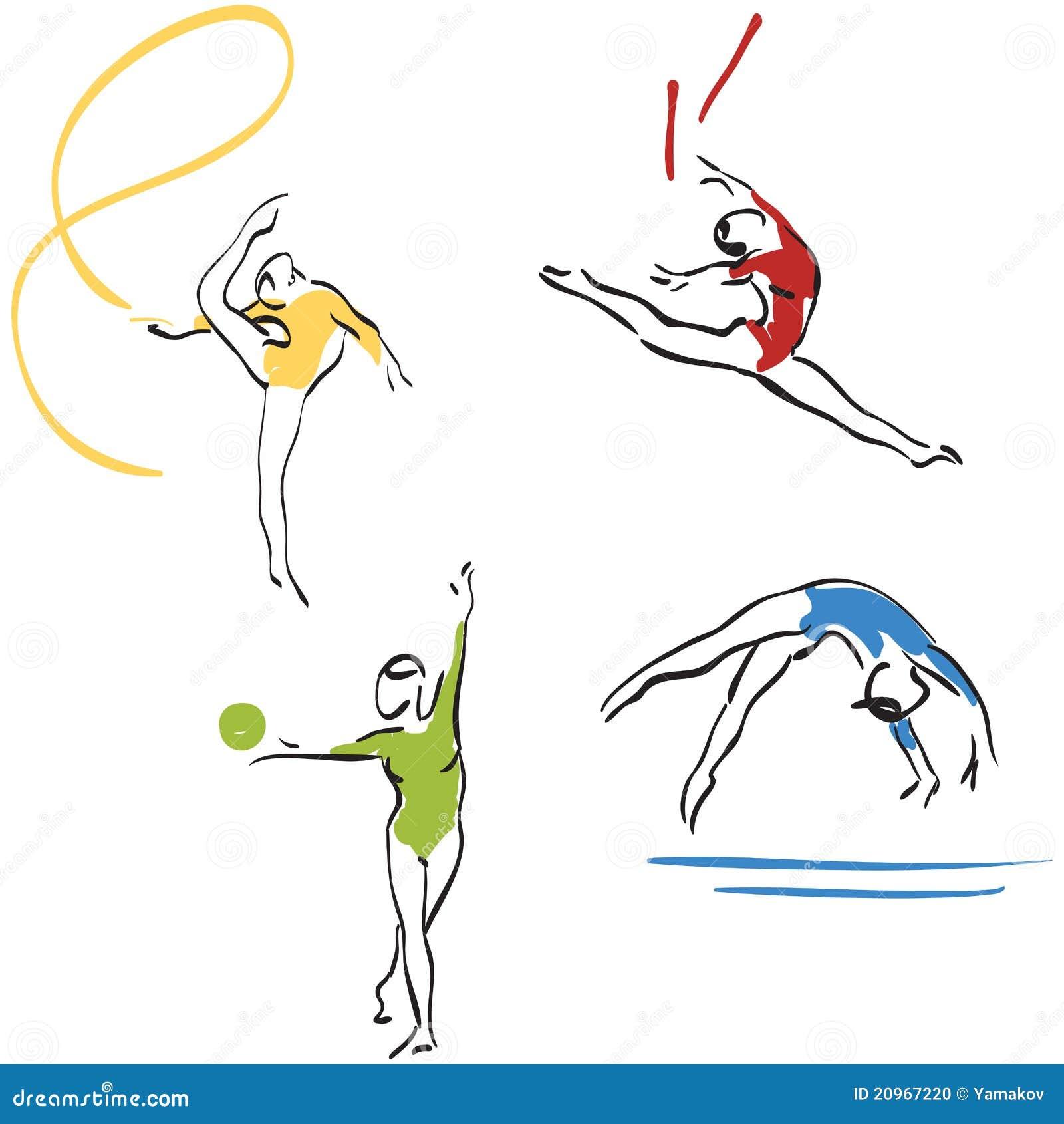 Accumulazione di ginnastica donne illustrazione for Gimnasia concepto