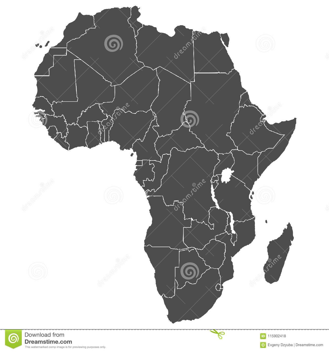 Accurate Map Of Africa.Map Of The African Continent Stock Vector Illustration Of East