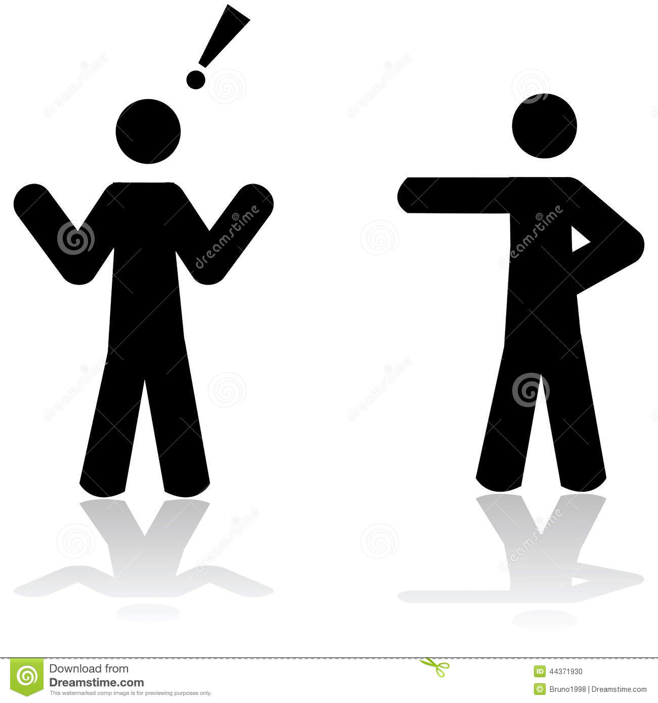 Illustration showing a man pointing at another person, who reacts in ...
