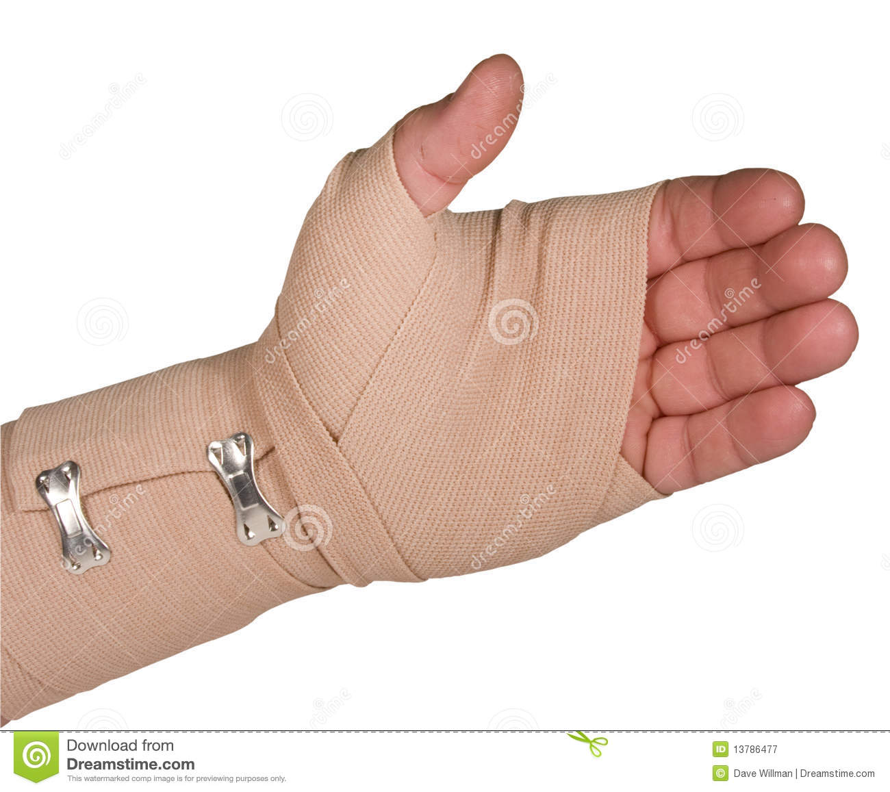 Left hand wrapped in an ace bandage isolated with clipping path at ...