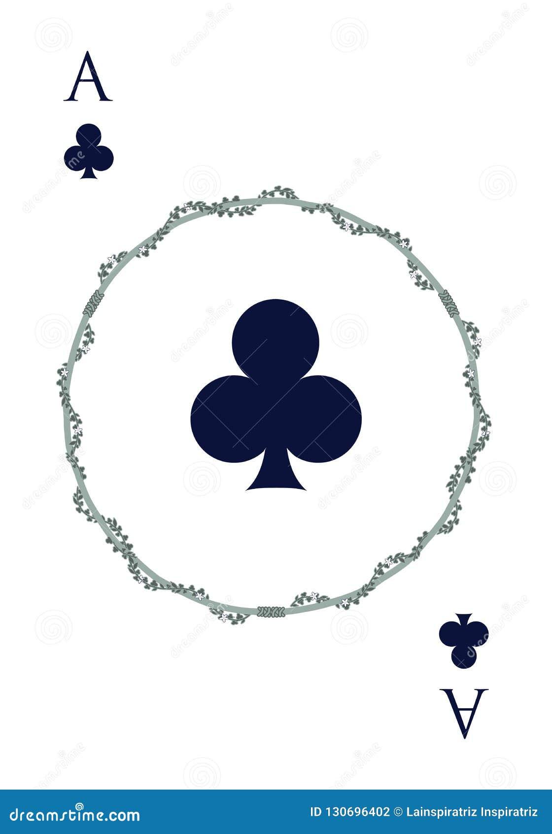 Ace de trèfle à l intérieur d une tige circulaire entourée par des clubs, d isolement sur le fond blanc