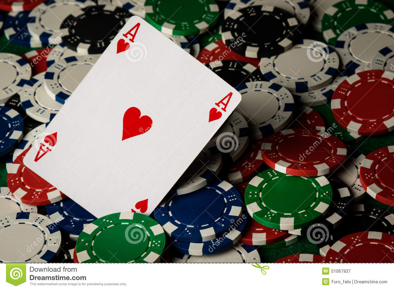 Ace of hearts and poker chips