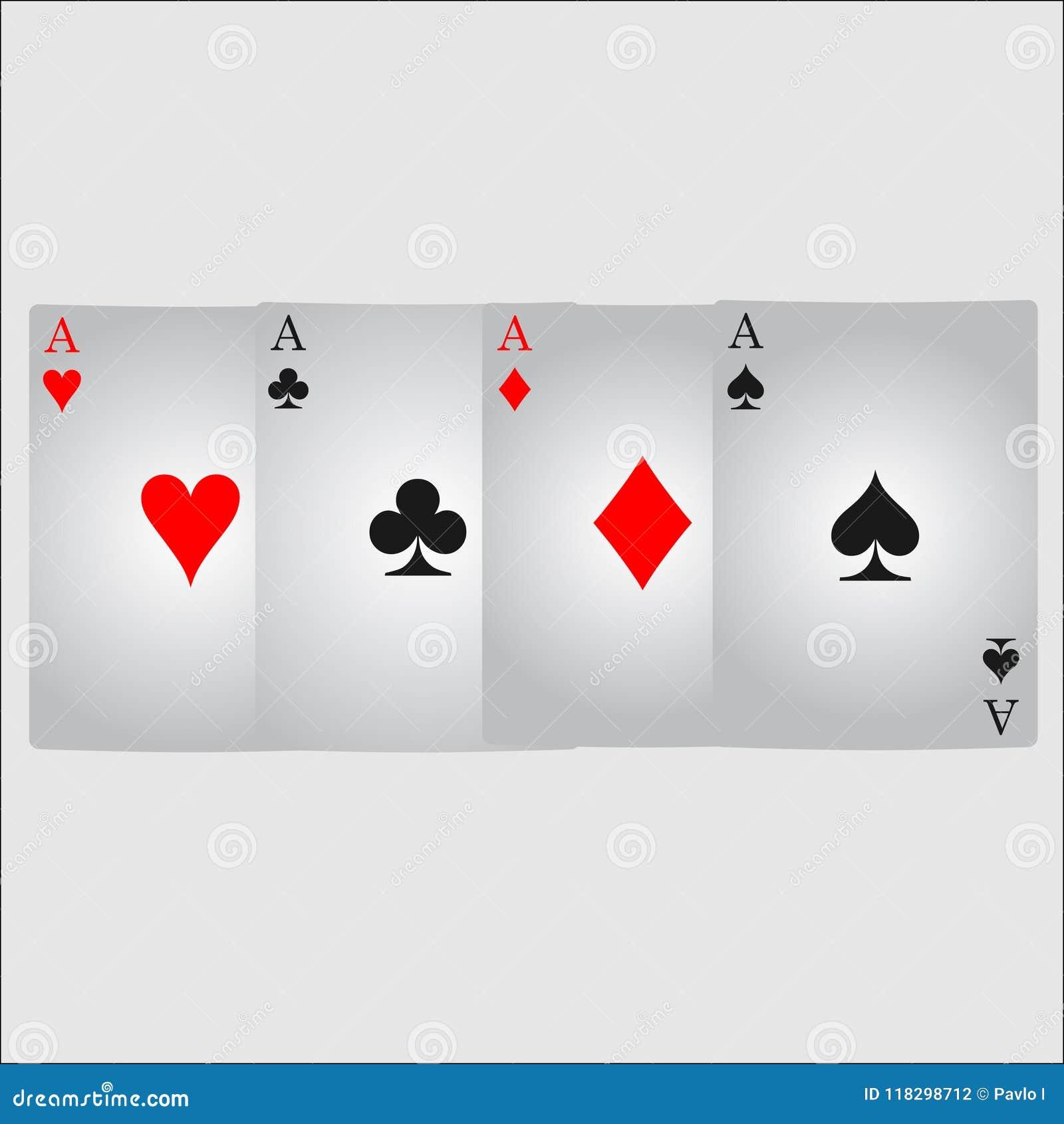 Ace-het pictogramvector van het kaartkostuum, kostuum van het het pictogramsymbool van speelkaartensymbolen het vector, vastgeste