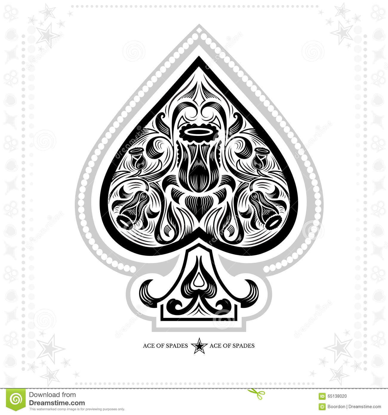 Ace Of Spades With Flower Pattern Inside. Black In White Stock ...