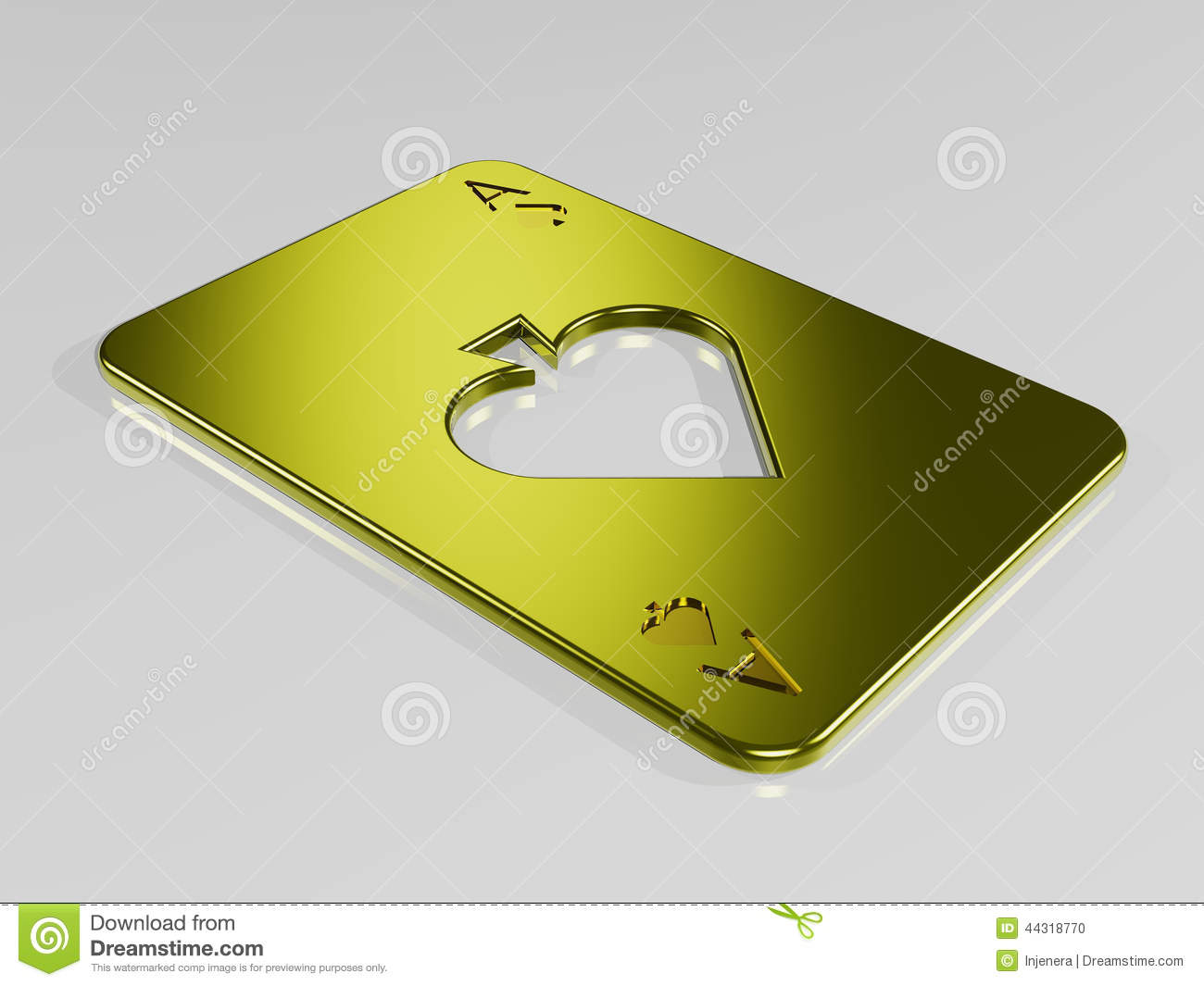 Ace Of Spades Gold Playing Card Stock Illustration Illustration Of