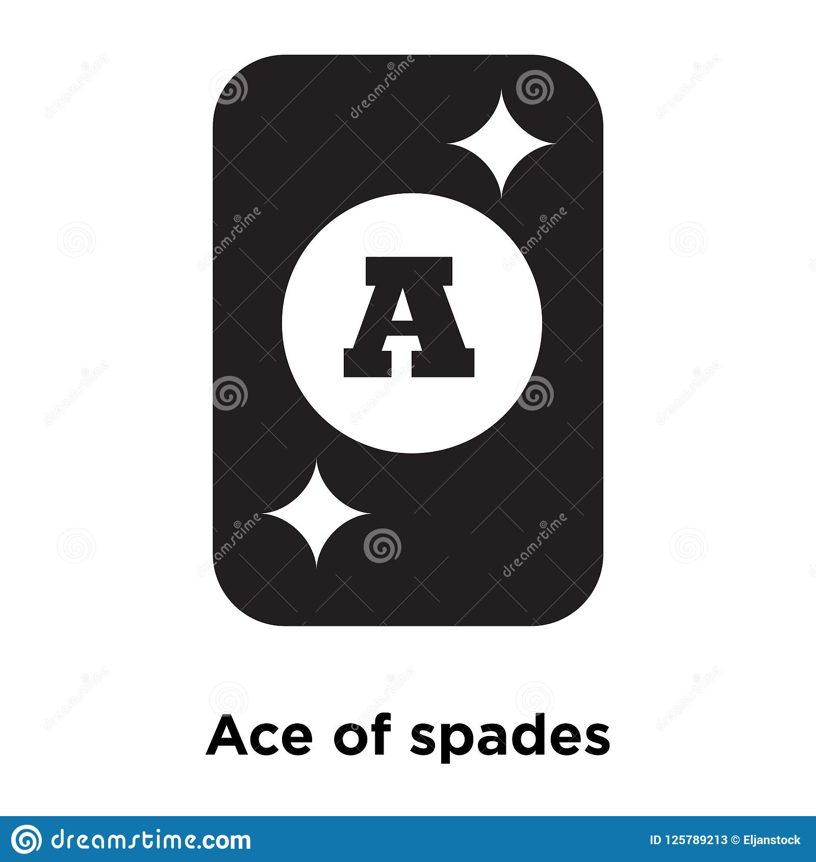 Ace Of Spades Icon Vector Isolated On White Background Logo Con