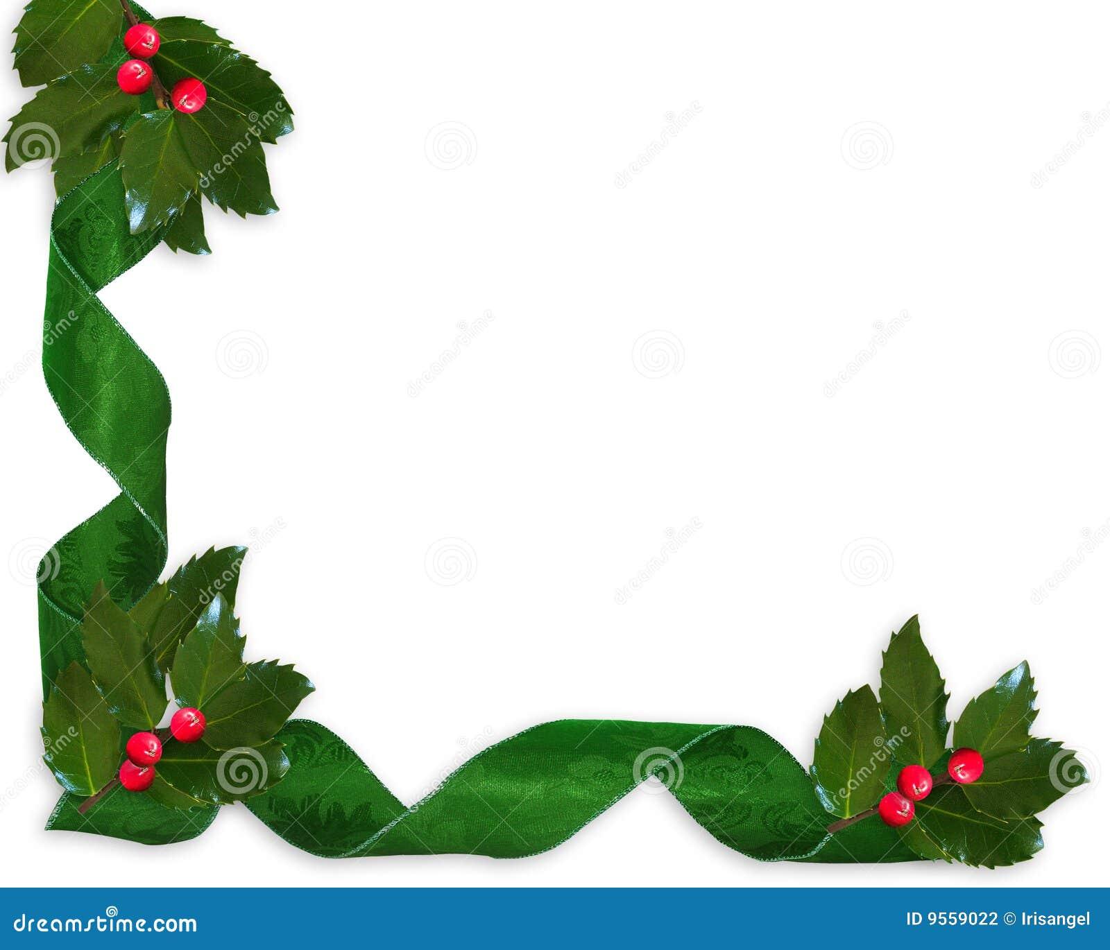 Acebo De La Navidad Y Frontera De Las Cintas Stock De Ilustracion