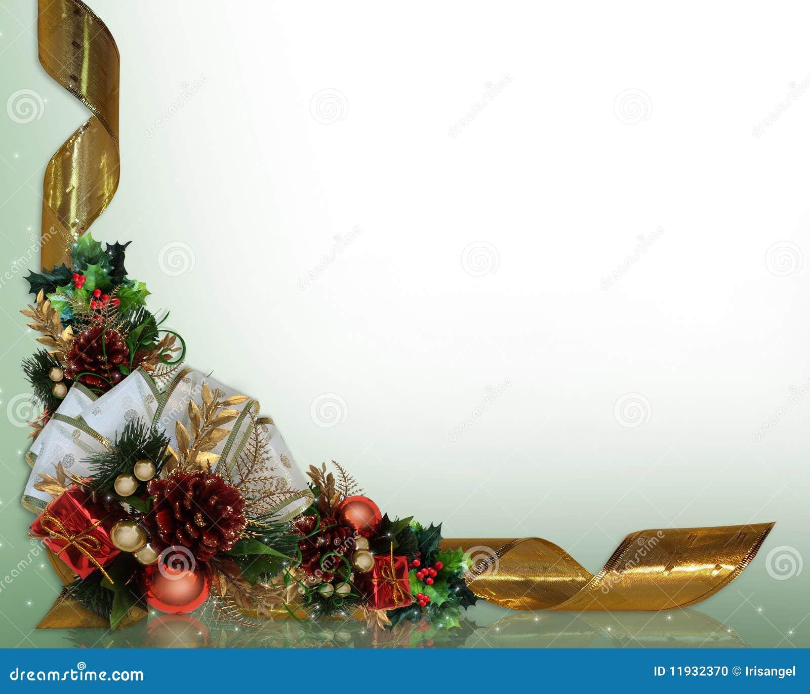 Acebo y cintas de la frontera de la navidad stock de for Cintas de navidad