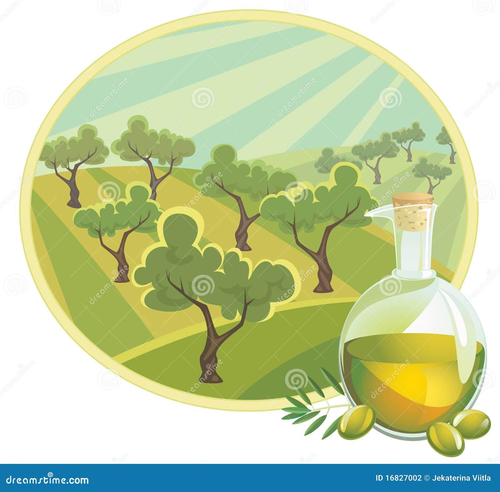Aceite de oliva con paisaje rural