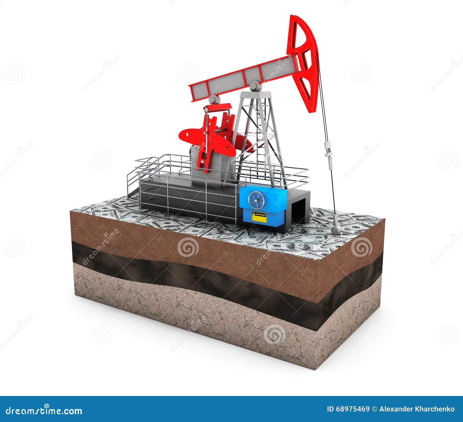Aceite Jack Pump sobre la tierra con el dinero