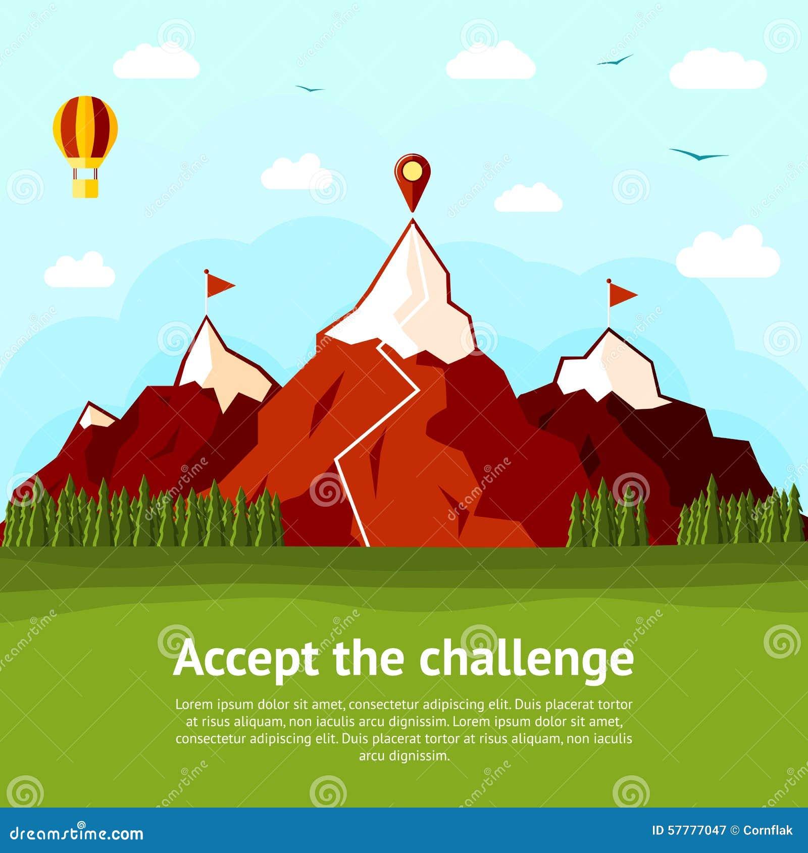 Aceite o cartão do conceito do desafio com elevação