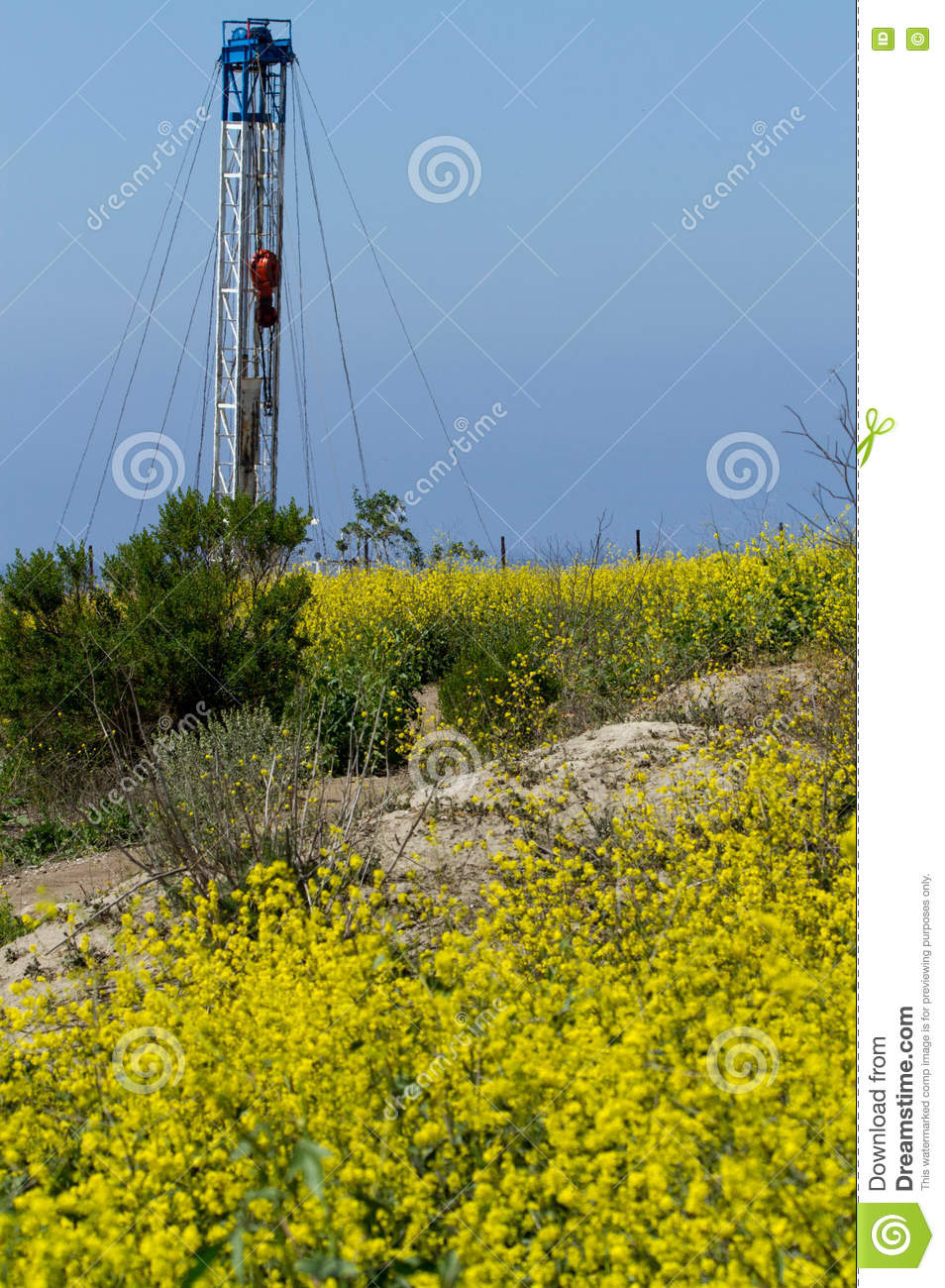 Aceite Rig With Yellow Flower Foreground