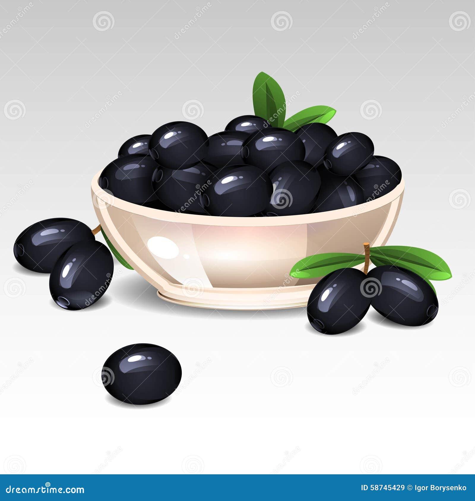 Aceitunas negras en una placa
