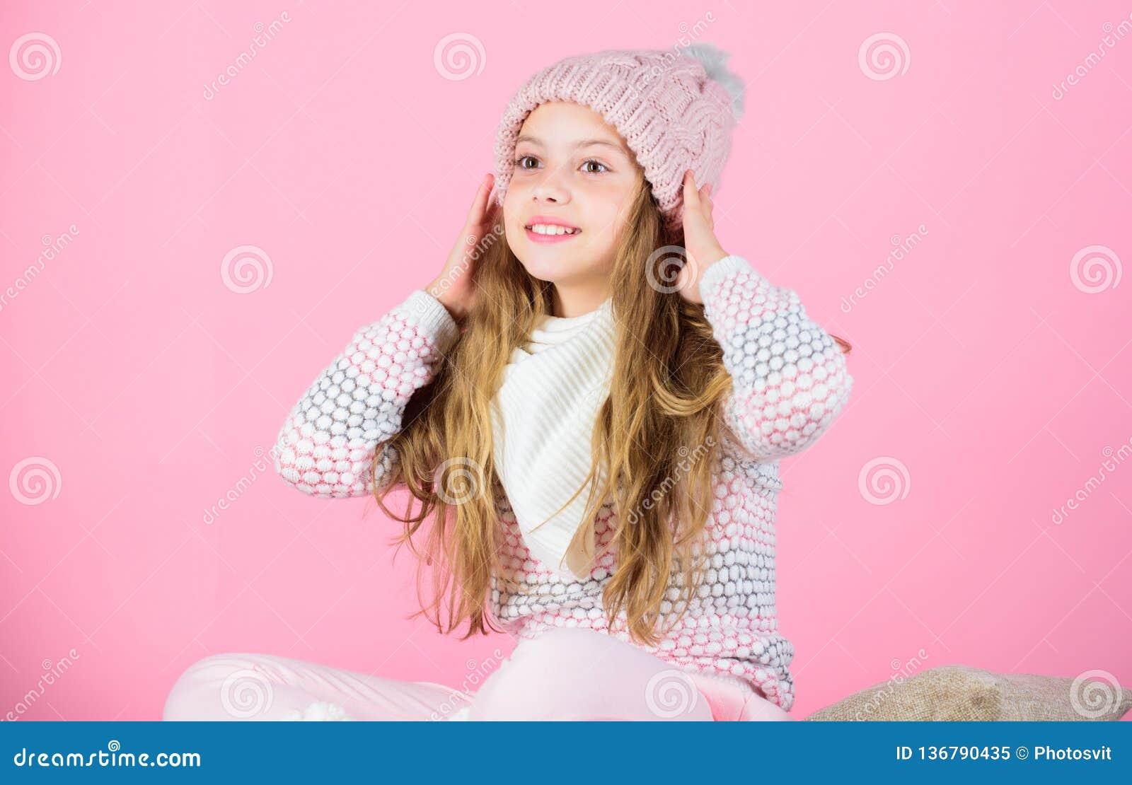 Acessório feito malha macio Pontas para importar-se com vestuários feitos malha Chapéu de lã macio morno do cabelo longo da crian