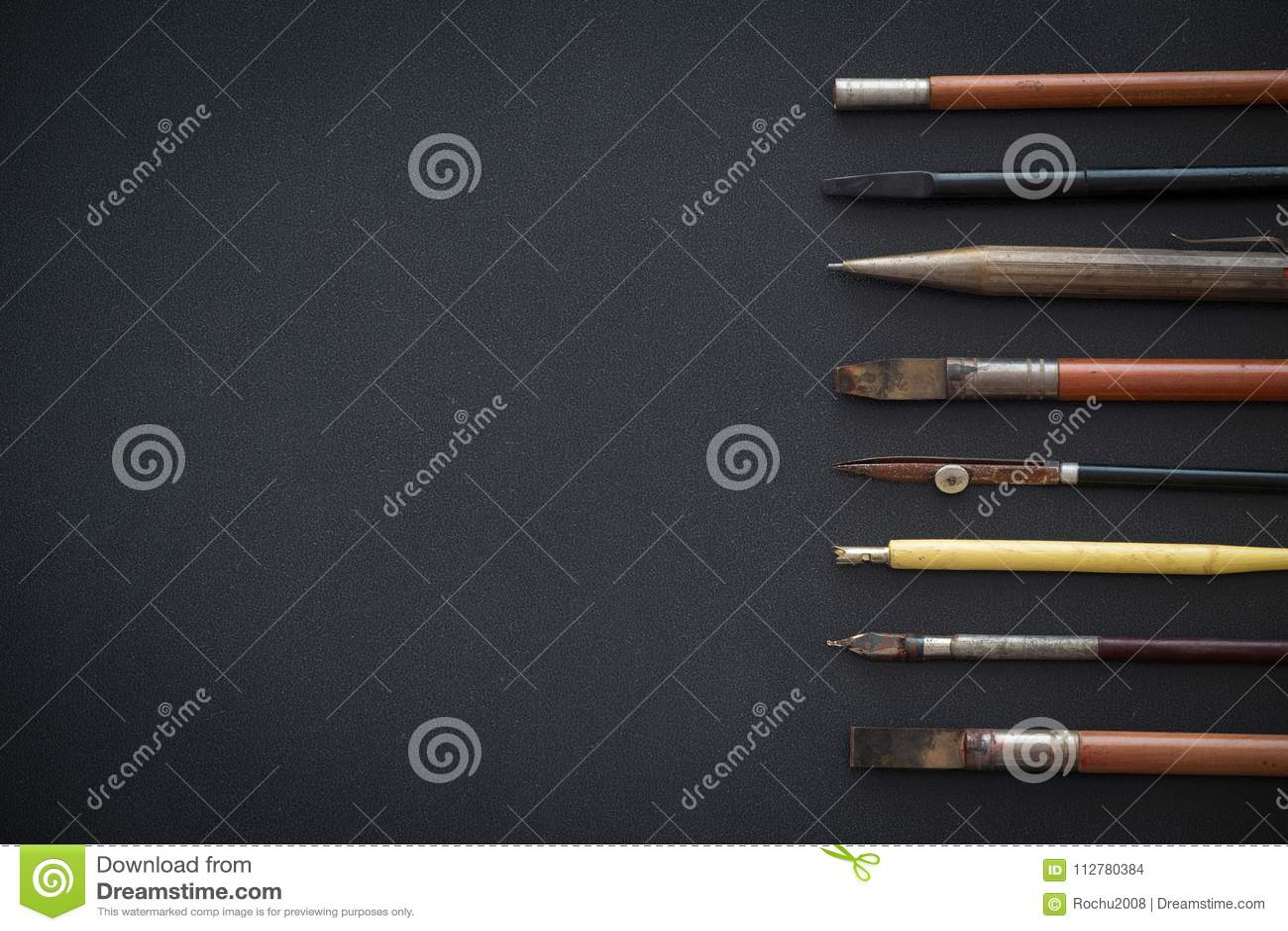 Acessórios da velha escola, do esboço e da tiragem
