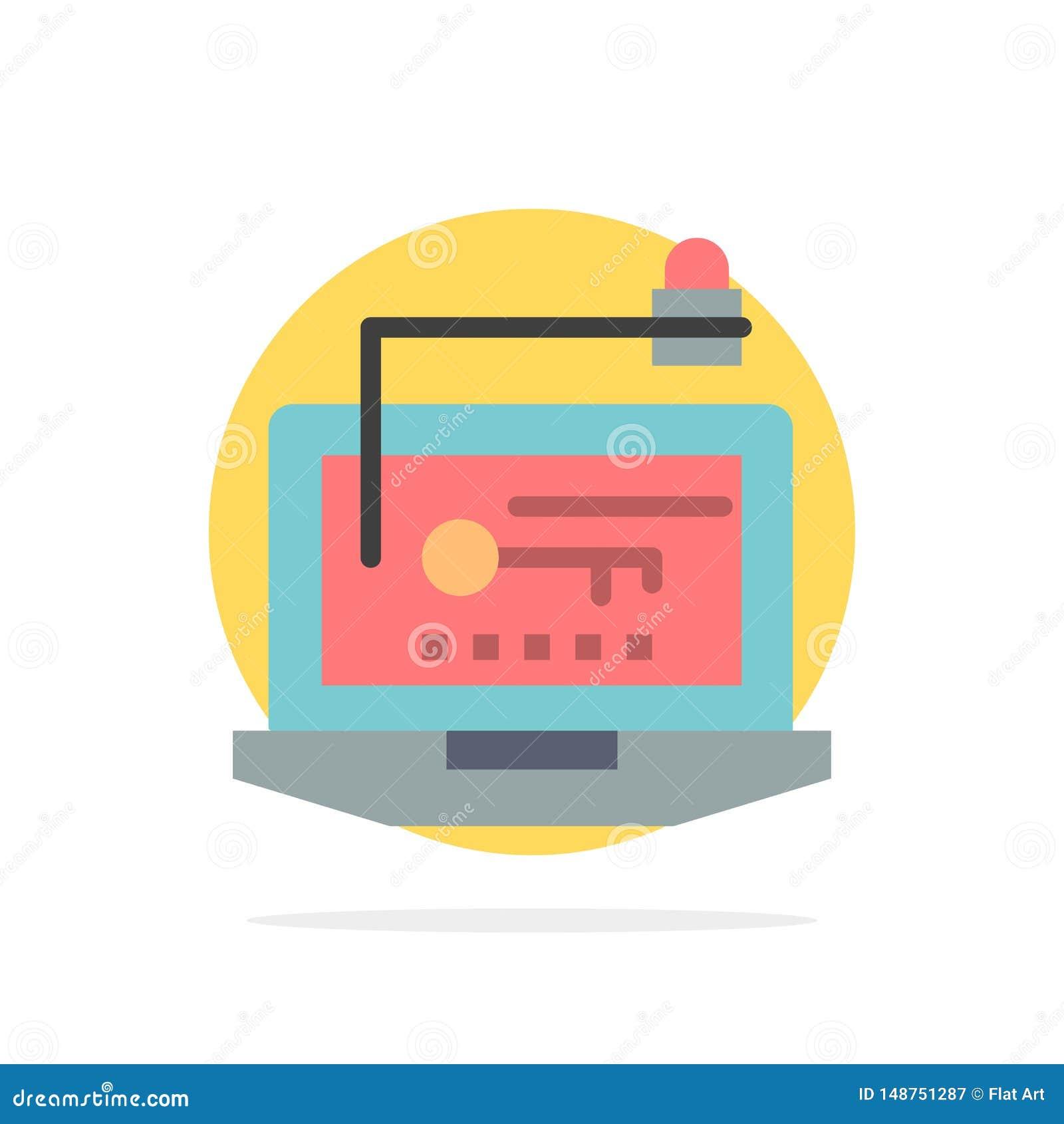 Acesso, computador, hardware, chave, ícone liso da cor do fundo do círculo do sumário do portátil