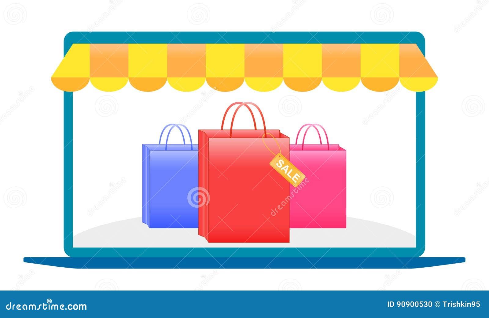 Achats en ligne, ordinateur portable, achats avec un ordinateur portable au-dessus de l Internet, emballage pour des achats, prod