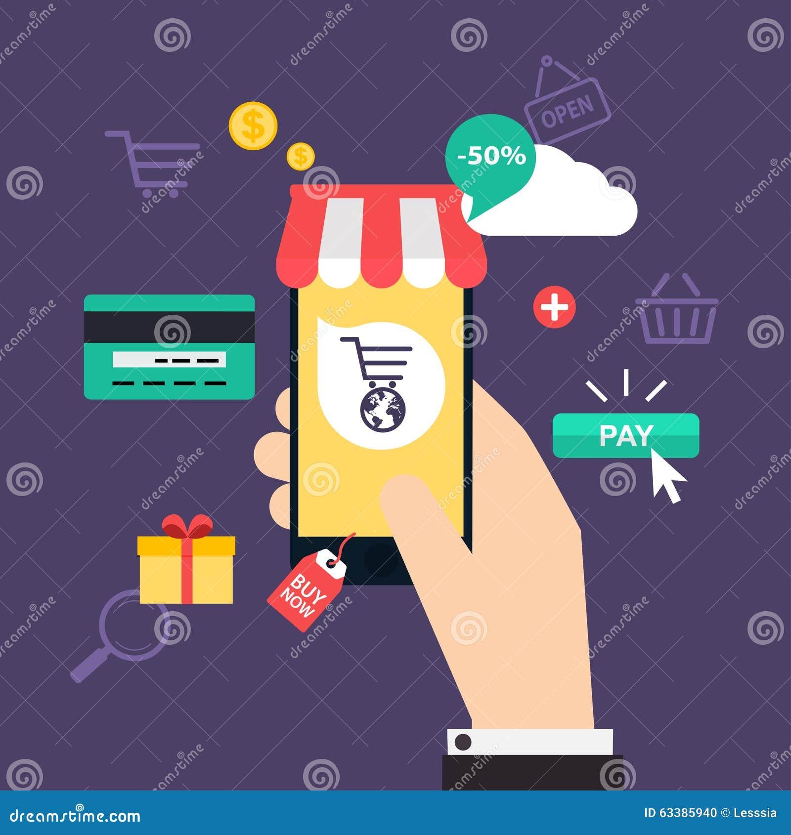 Achats et commerce lectronique en ligne de concept ic nes for Compra online mobili