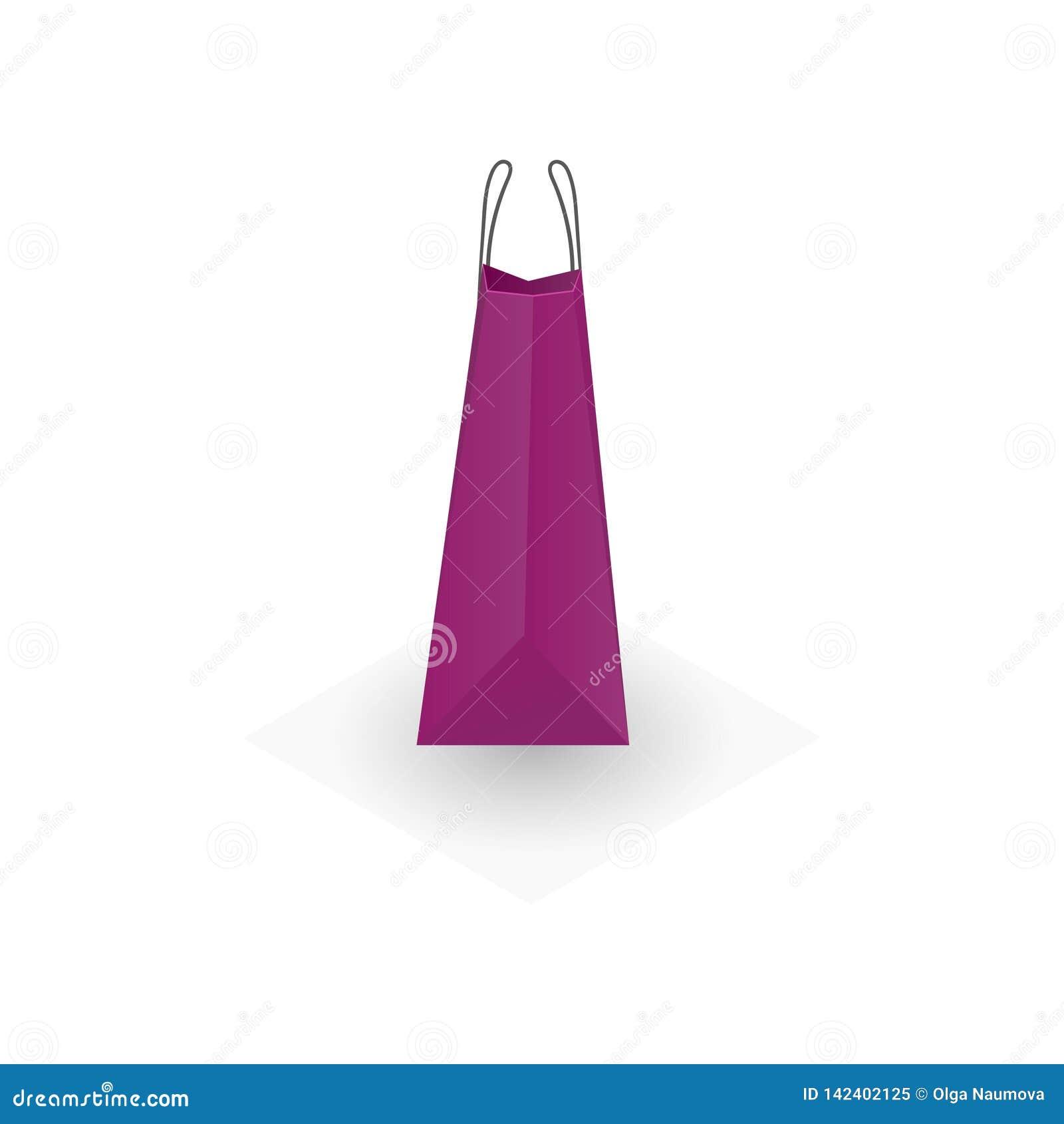 Achats violets de papier ou de carton ou sac de cadeaux d isolement sur le fond blanc