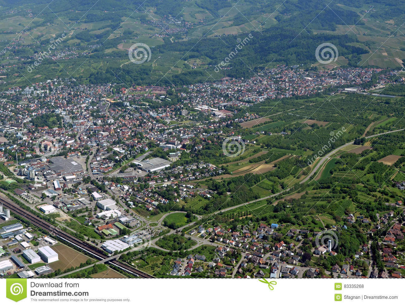 Achern Baden Aerial Stock Photo Image 83335268