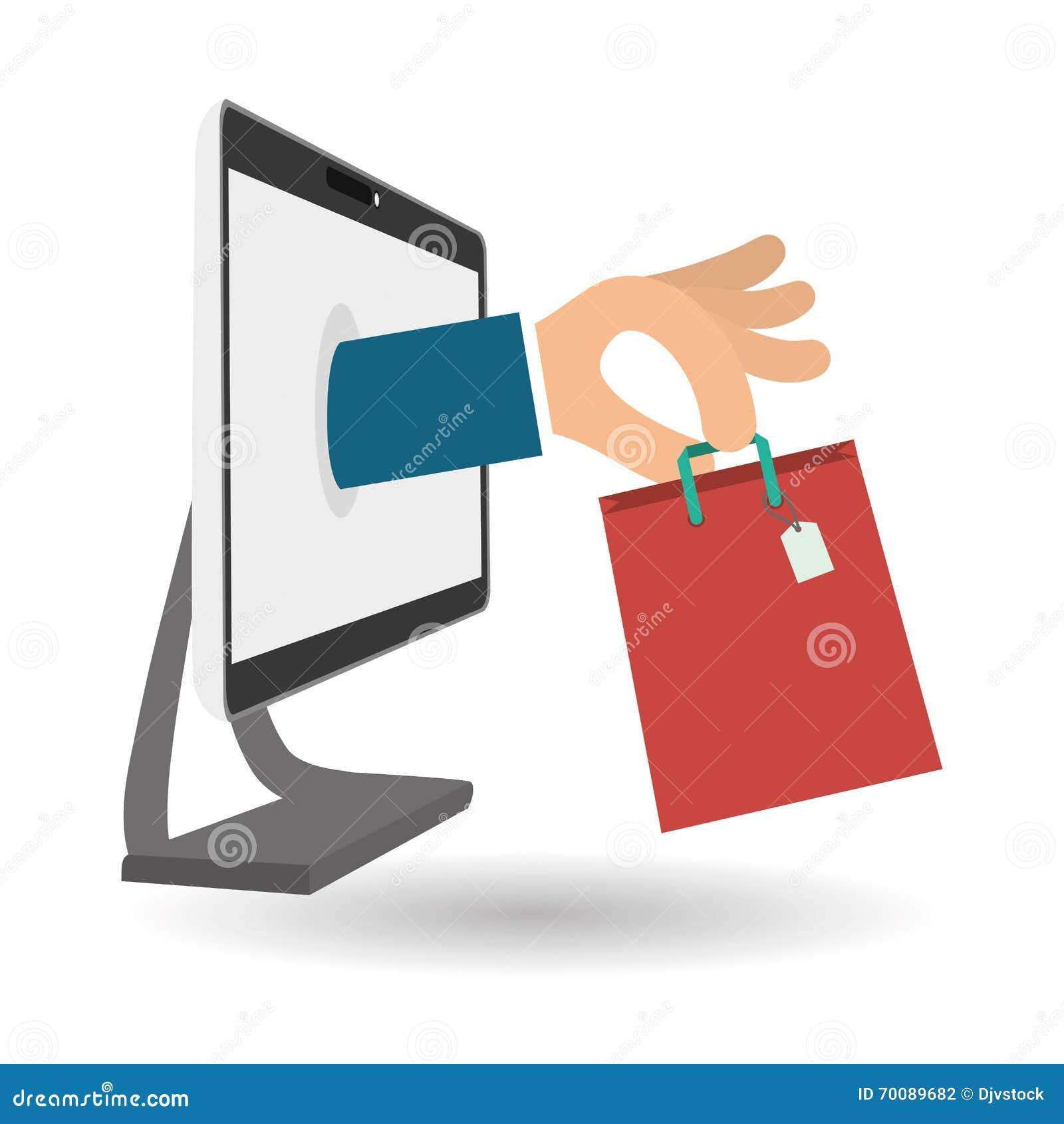 achetez en ligne au dessus du fond blanc main sur l 39 ordinateur d 39 cran illustration de vecteur. Black Bedroom Furniture Sets. Home Design Ideas