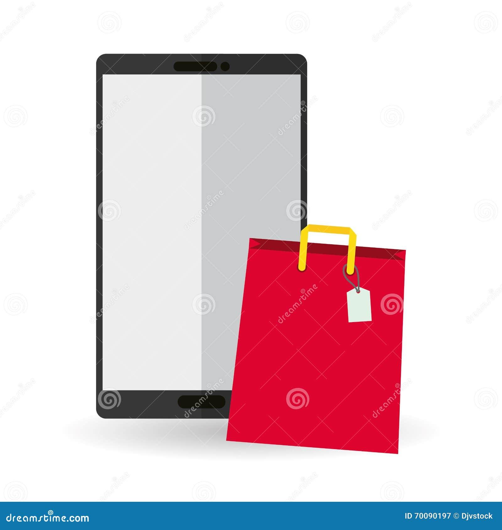 achetez en ligne au dessus du fond blanc vecteur mobile illustration de vecteur illustration. Black Bedroom Furniture Sets. Home Design Ideas