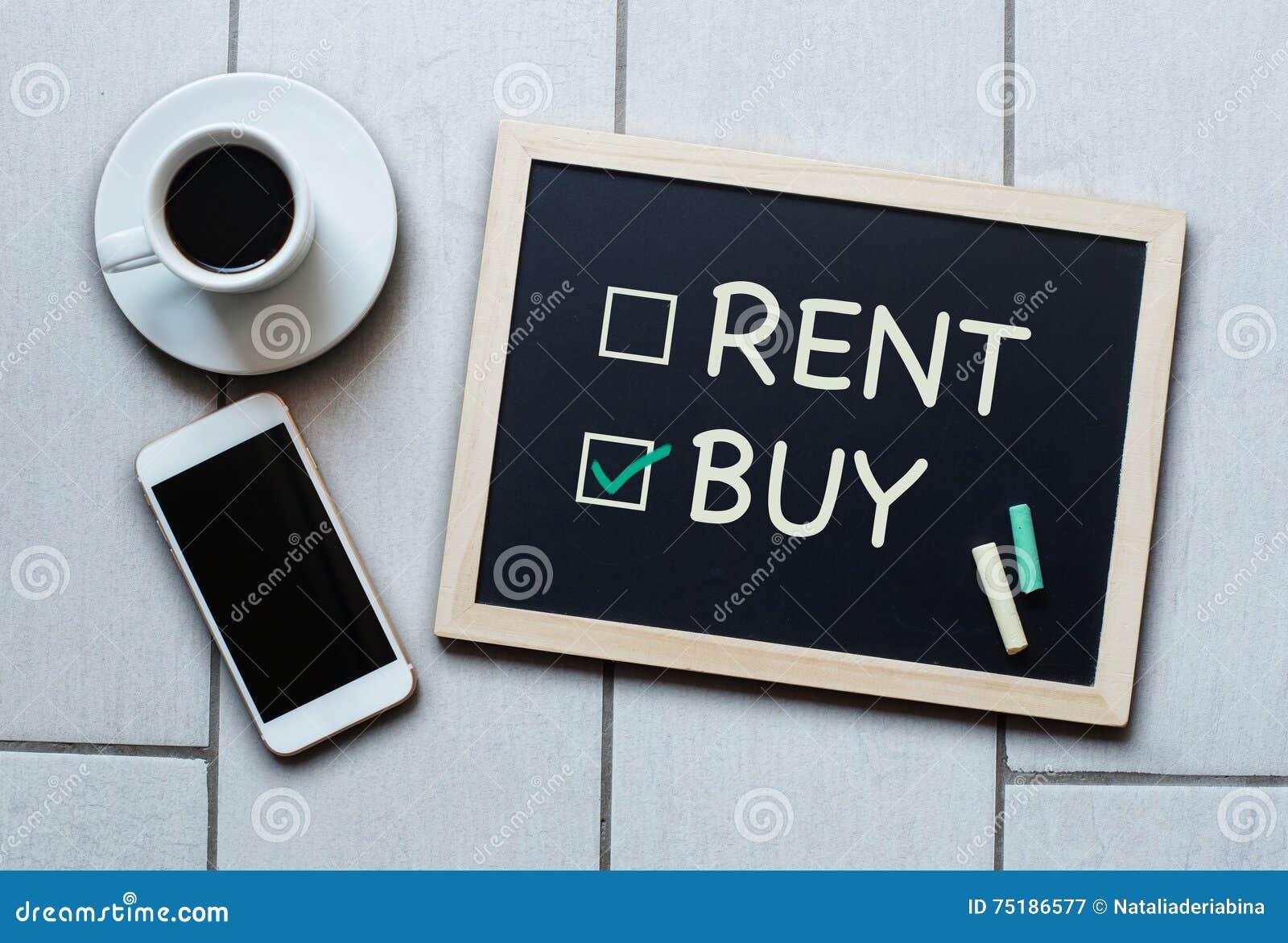Achetez pas le concept de tableau noir de loyer Choix de l achat au-dessus de la location