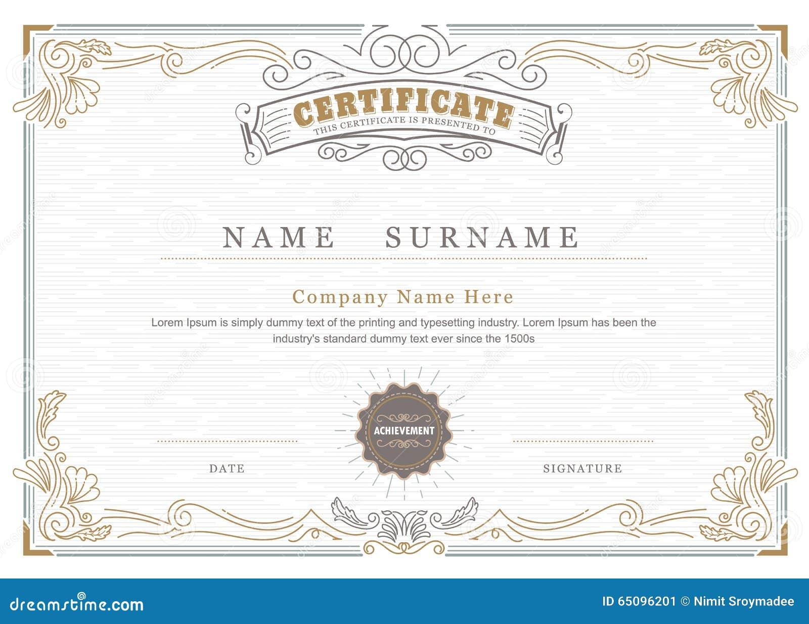 Achievement Certificate Elegant Flourishes Frame Vintage ...
