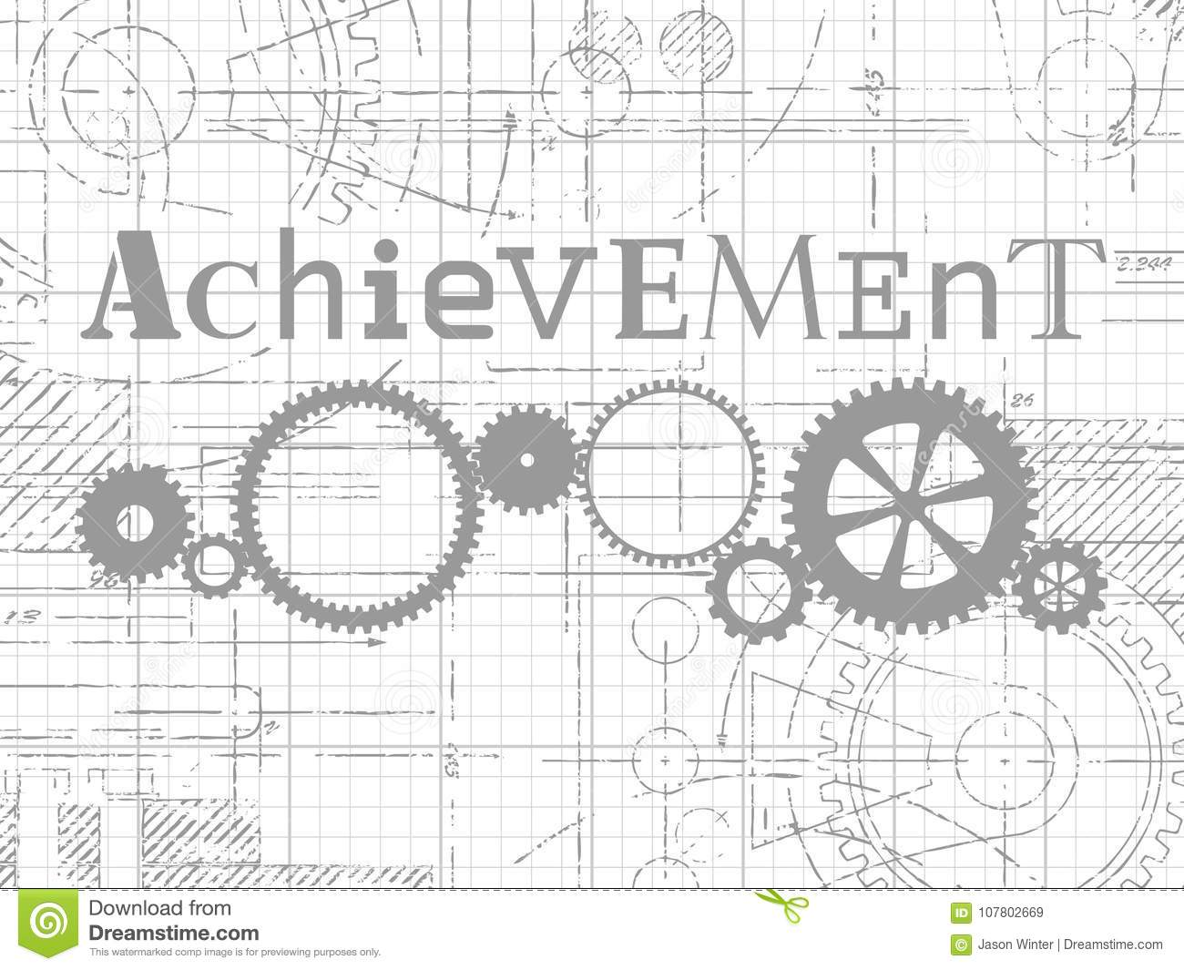 achievement graph paper tech drawing stock vector illustration of