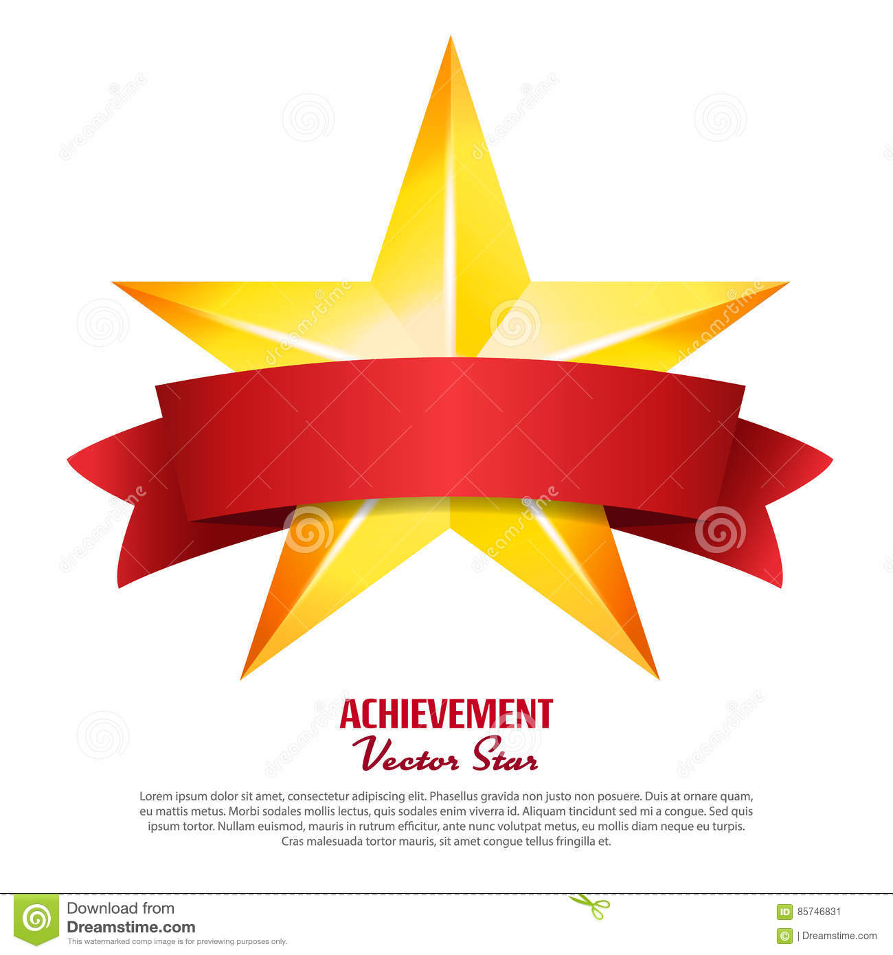 Achievement Vector Star With Red Ribbon Yellow Sign Place For Text