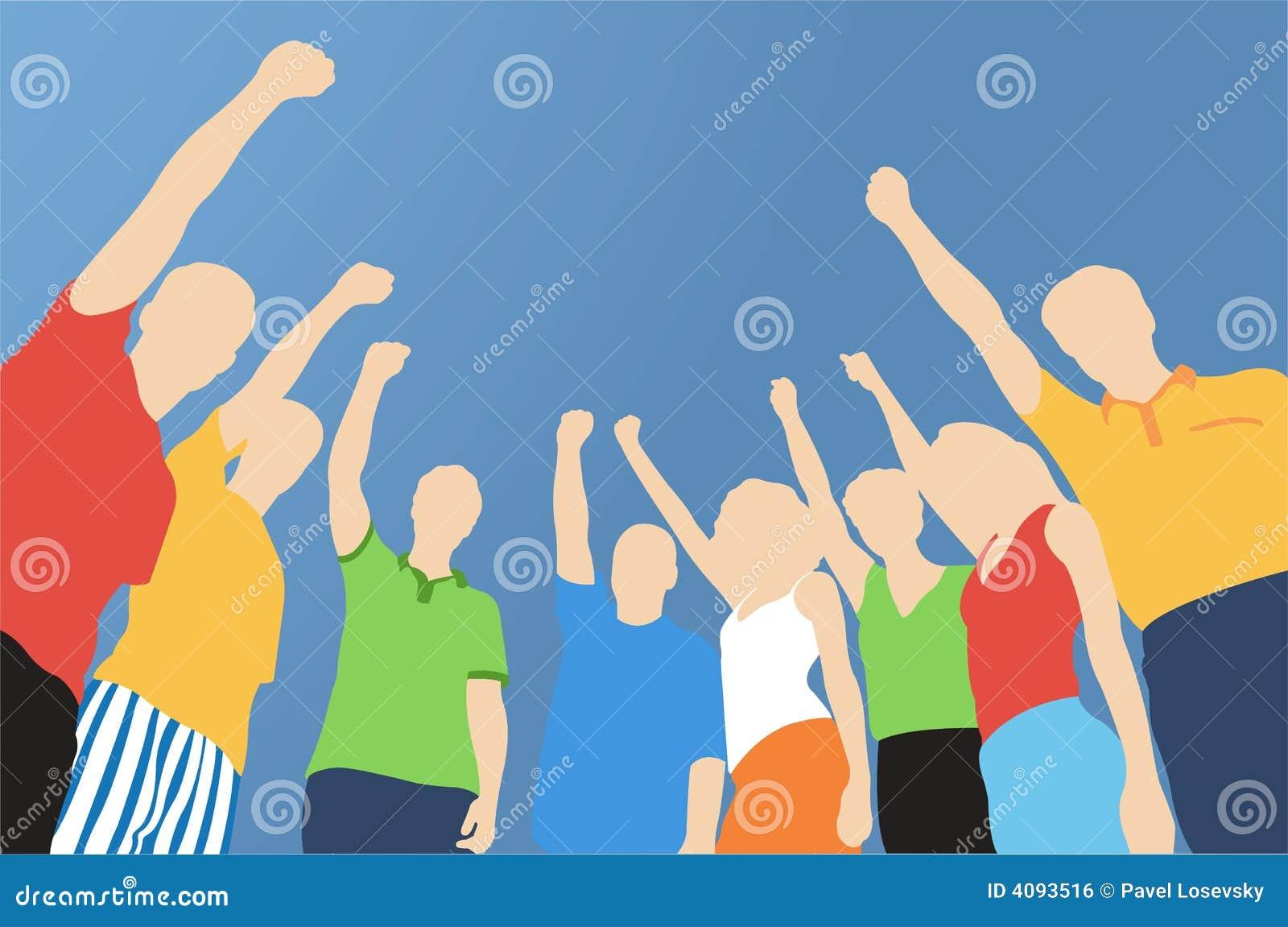 Acht Freunde mit der Hand oben
