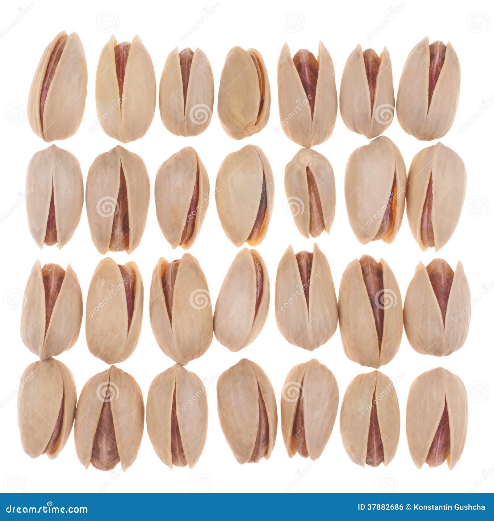 Achtentwintig pistaches die in orde worden geplaatst