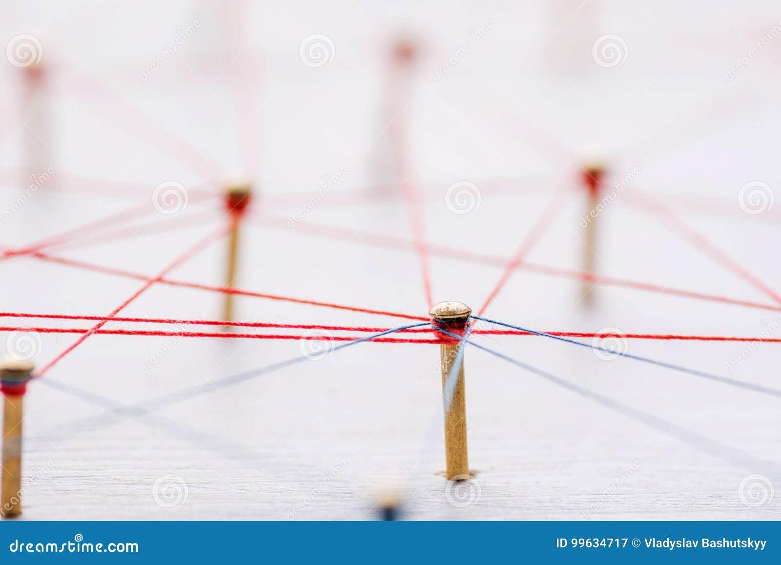 Achtergrond Abstract concept netwerk, sociale media, Internet, groepswerk, mededeling Langs verbonden spijkers