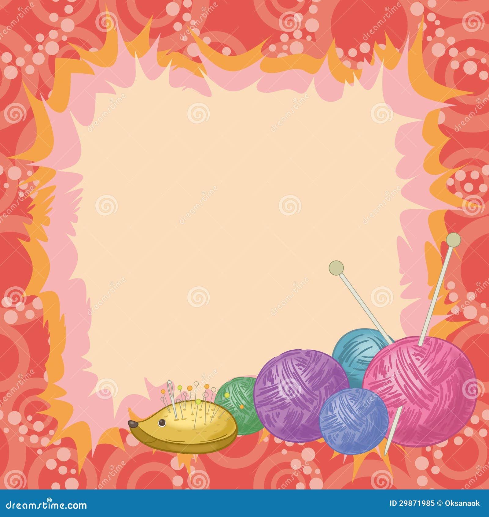 Achtergrond toebehoren voor het breien vector illustratie afbeelding 29871985 - Decoratief kader voor het leven ...