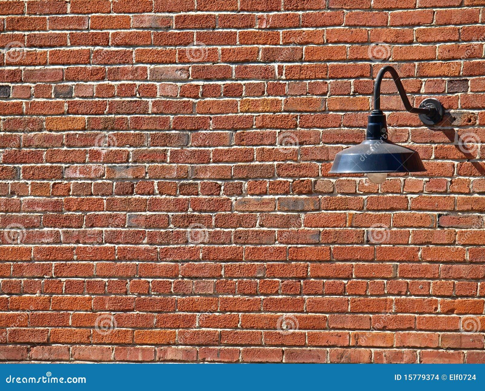 Achtergrond Beeld van Lamp op de Bakstenen muur